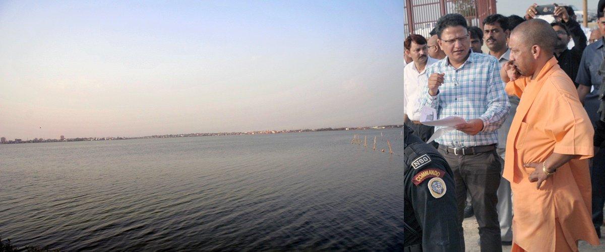 UPCM गोरखपुर के रामगढ़ ताल में कराये जा रहे बोल्डर पिचिंग का काम एवं नुमाइश ग्राउंड का निरीक्षण करते हुए