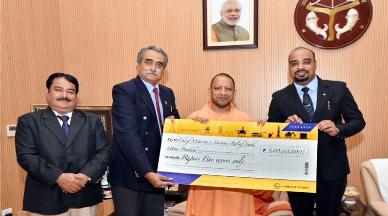 UPCM को लारसेन एण्ड टूब्रो लि. ने 'मुख्यमंत्री राहत कोष' हेतु 05 करोड़ रुपये का चेक सौंपा