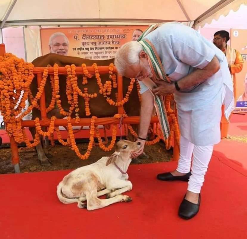 प्रधानमंत्री मथुरा में 'राष्ट्रीय पशु रोग निवारण कार्यक्रम' का शुभारम्भ करते हुए